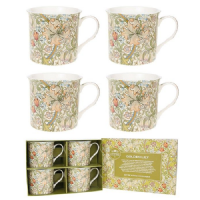 Golden Lily Set of 4 Fine China Floral Mugs, Boxed